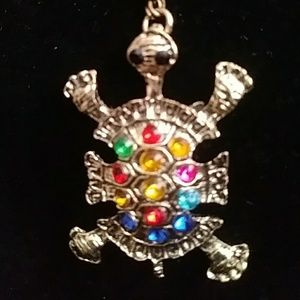 Jewelry - Gold Turtle with multicolored rhinestones